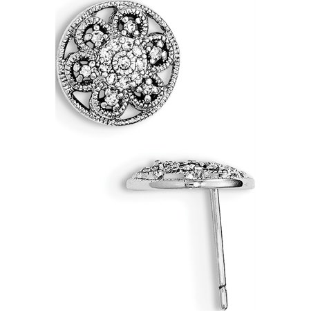 925 Sterling Silver Rhodium-plated CZ Textured Flower Post (13x13mm) Earrings - image 2 of 2