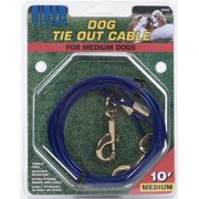 Coastal Pet Products Titan 89050 Blue Medium Cable Dog Tie Out with Brass Plated Snaps, 10 feet