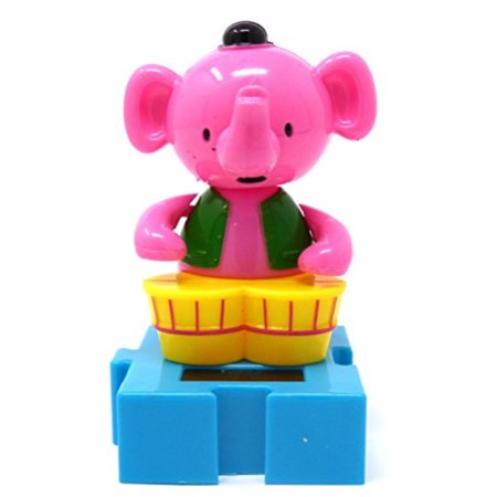 #225 pink elephant solar dancing animal circus show toys by greenbrier ()