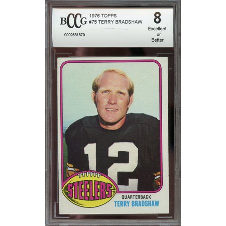 1976 Topps  75 Terry Bradshaw Pittsburgh Steelers Bgs Bccg 8