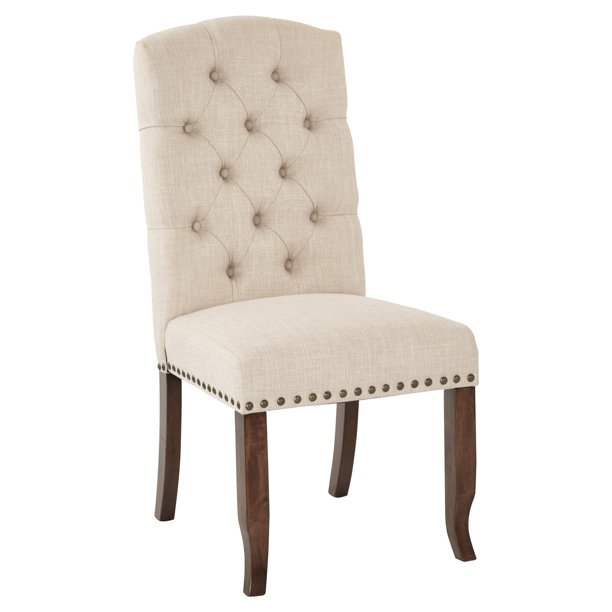 Jessica Tufted Dining Chair With Bronze Nailheads And Coffee Legs K D Various Colors Walmart Com Walmart Com