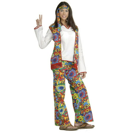 Hippie Dippie Woman Adult Halloween Costume - Last Minute Hippie Halloween Costume