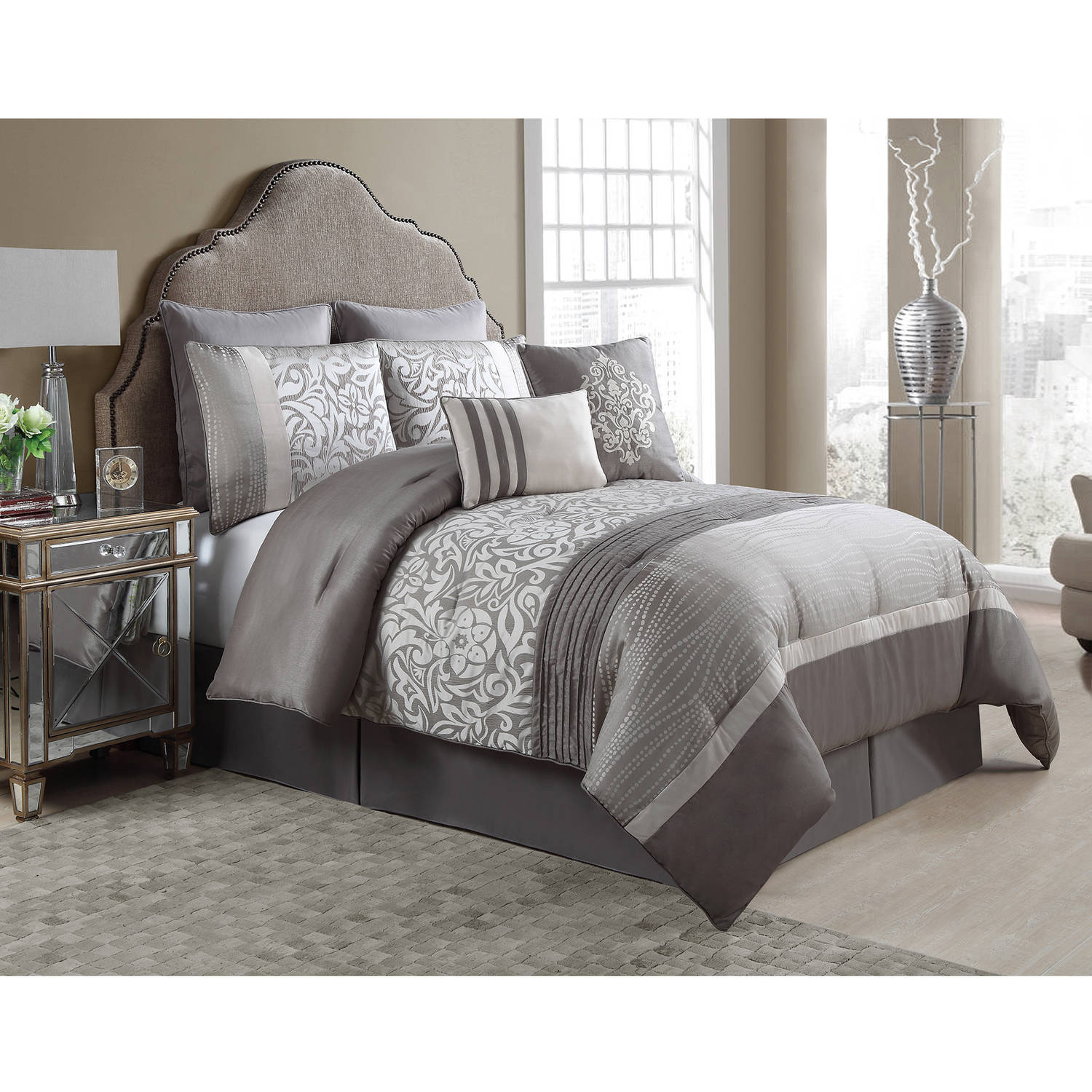 VCNY Home Arcadia 8-Piece Floral Embroidered Ruched Bedding Comforter Set, Euro Shams Included