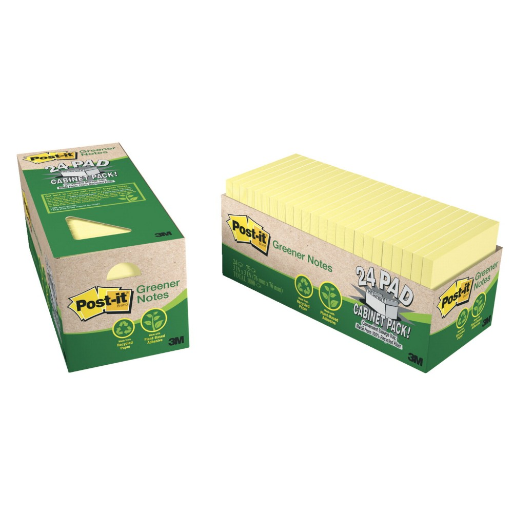 Post-it Recycled Paper Greener Note Cabinet Pack With Storage Tray, 75 Sheets - Pad, Pack of 24