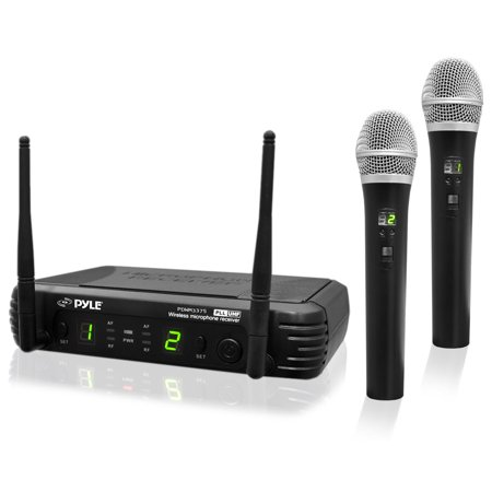 Uhf 5805 Rechargeable Wireless Microphone (Pyle PDWM3375 - Premier Series Professional 2-Channel UHF Wireless Handheld Microphone System with Selectable Frequencies )