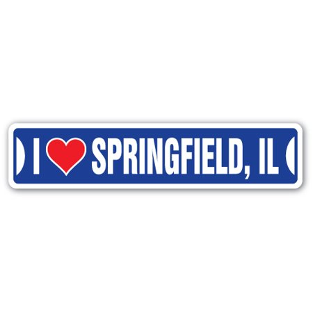 I LOVE SPRINGFIELD, ILLINOIS Street Sign il city state us wall road décor - Party City Springfield Il
