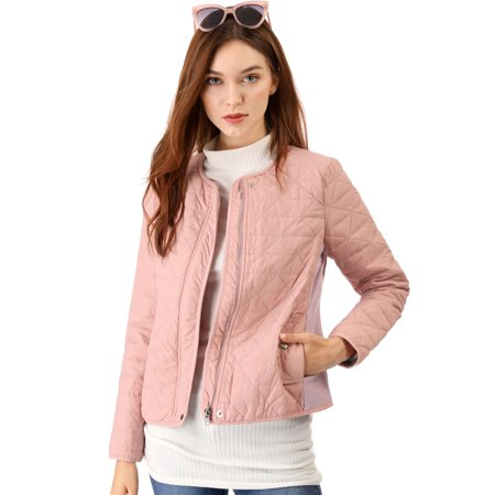 Unique Bargains Women's Ribbed Gilet Quilted Jacket Pink (Size M / 10)