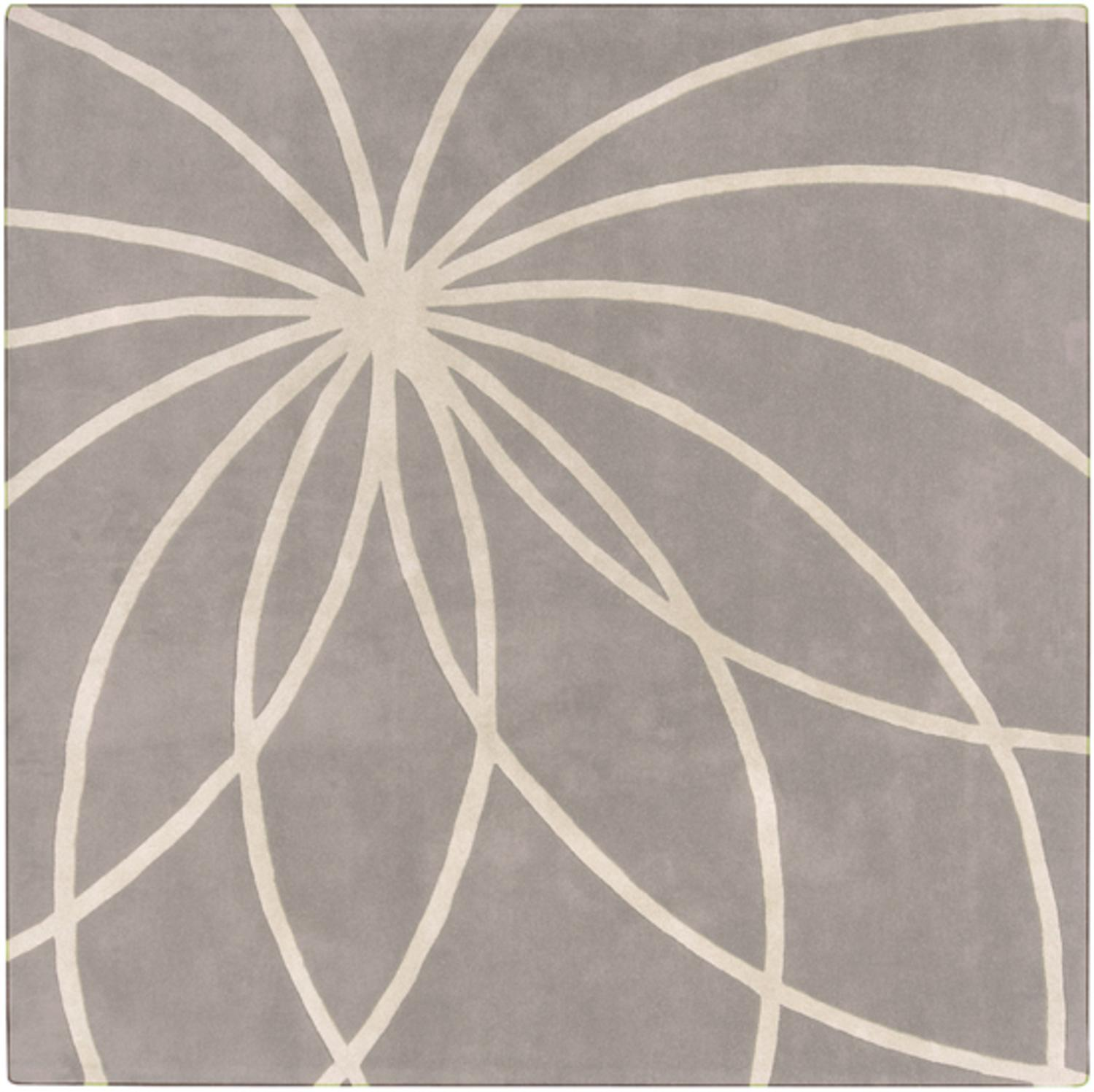 4' x 4' Plasma Elektra White and Gray Hand Tufted Wool Square Area Throw Rug