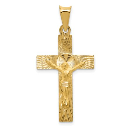 14k Yellow Gold Crucifix Cross Religious Pendant Charm Necklace Gifts For Women For Her