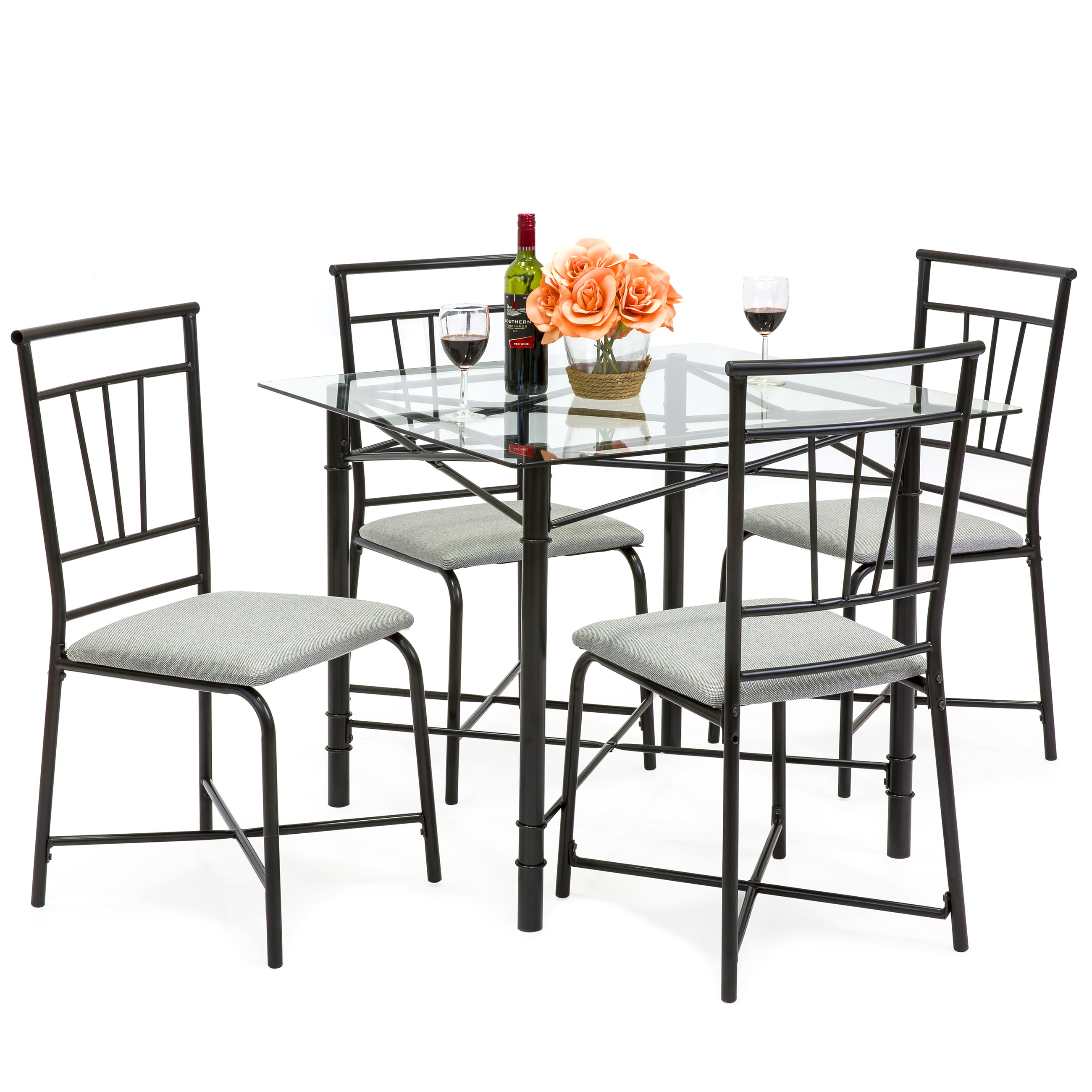 Dining Glass Table Set: Best Choice Products 5-Piece Square Glass Dining Table Set