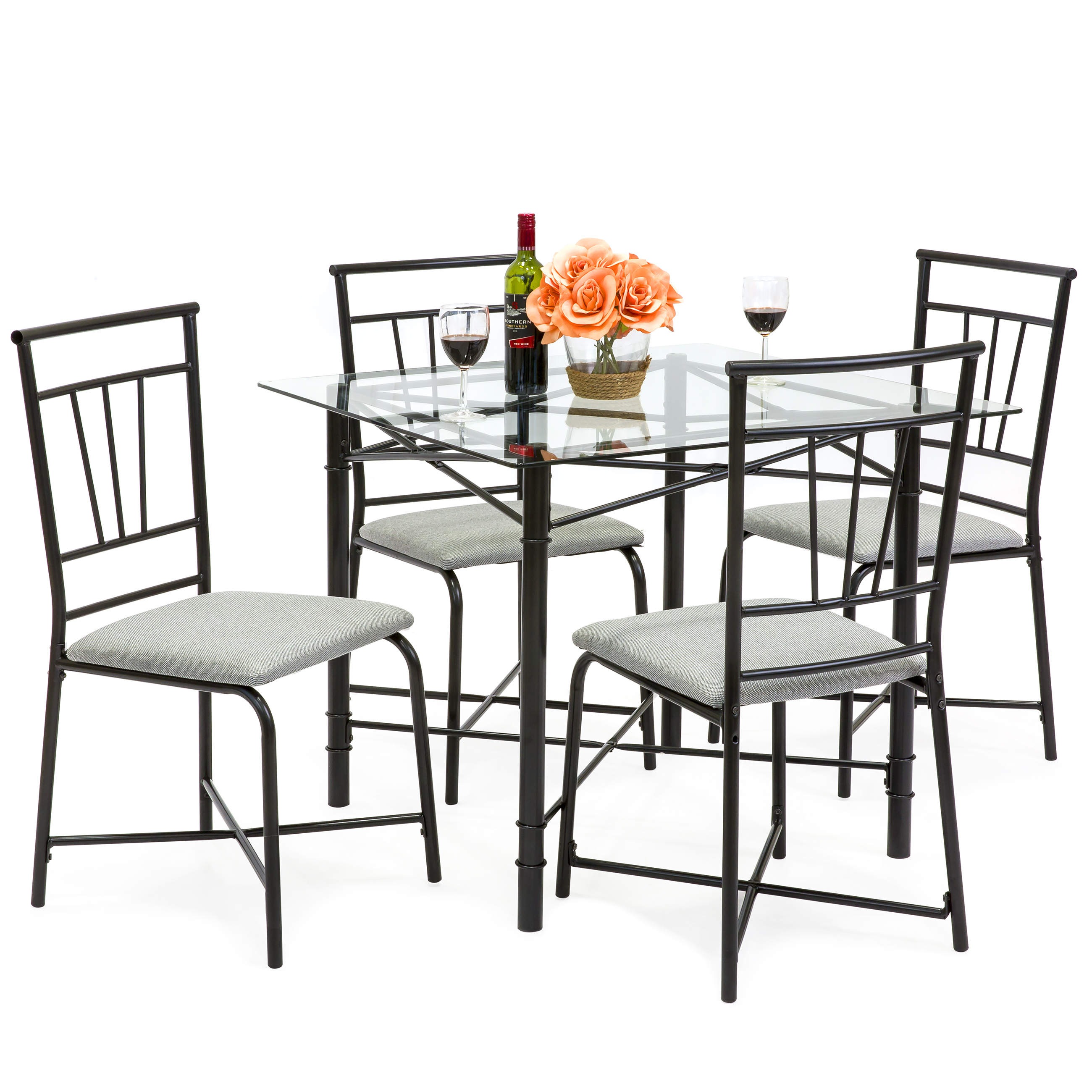 Genial Best Choice Products 5 Piece Square Glass Dining Table Set W/ 4 Upholstered  Chairs
