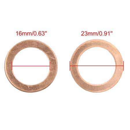 16mm Inner Dia Copper Crush Flat Washers Car Engine Sealing Gaskets Rings 10pcs - image 2 de 3