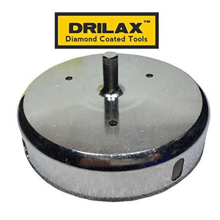 Drilax 4-7/8 inch  Diamond Drill Bit Hole Saw (Smaller Than 5  inch ) Ceramic, Porcelain Tiles, Glass, Fish Tanks, Marble, Granite, Quartz Diamond Coated Circular Saw - Kitchen, Bathroom, Shower, Fauc