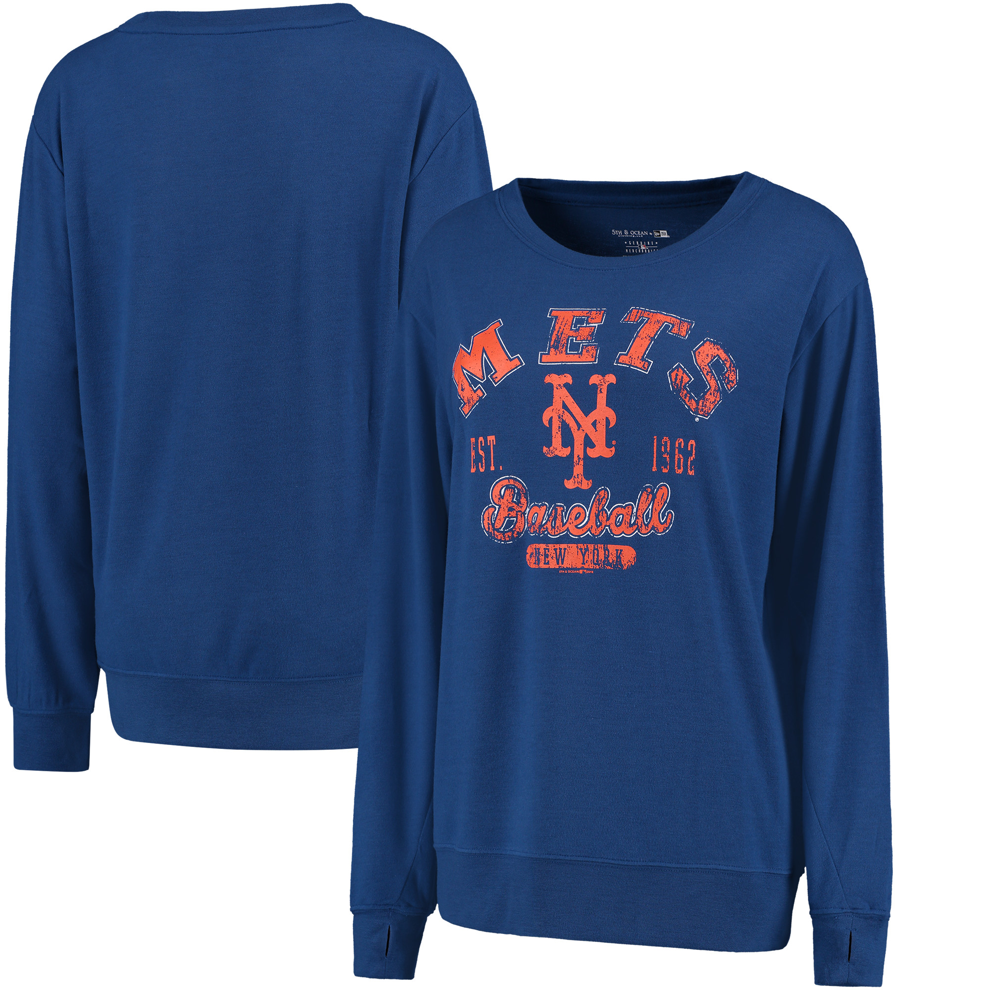 New York Mets 5th & Ocean by New Era Women's Knit Pullover Tri-Blend Sweatshirt - Royal