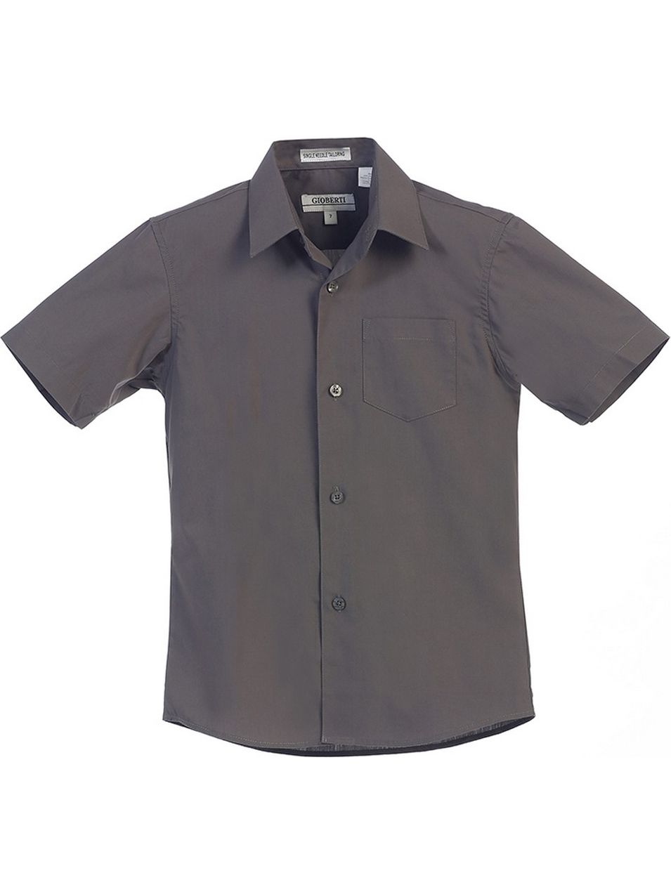Gioberti Little Boys Dark Grey Solid Color Button Down Short Sleeved Shirt