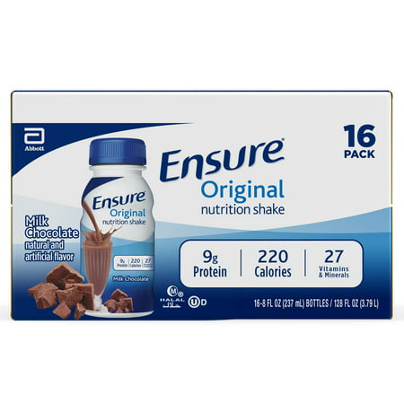 Ensure Original Nutrition Shake with 9 grams of protein, Meal Replacement Shakes, Milk Chocolate, 8 fl oz, 16 Count Mayan Drinking Chocolate
