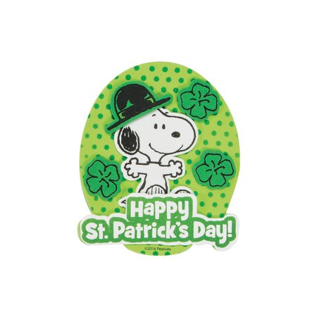 Fun Express - Snoopy Leprechaun Magnet CK-12 for St. Patrick's Day - Craft Kits - Stationary Craft Kits - Magnet - St. Patrick's Day - 12 Pieces