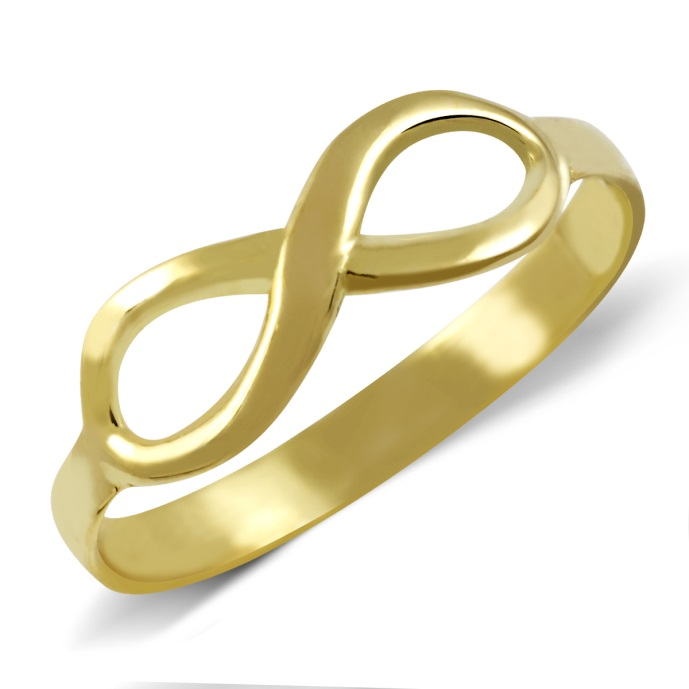 925 Sterling Silver Yellow Gold Plated Infinity Wedding Band Ring