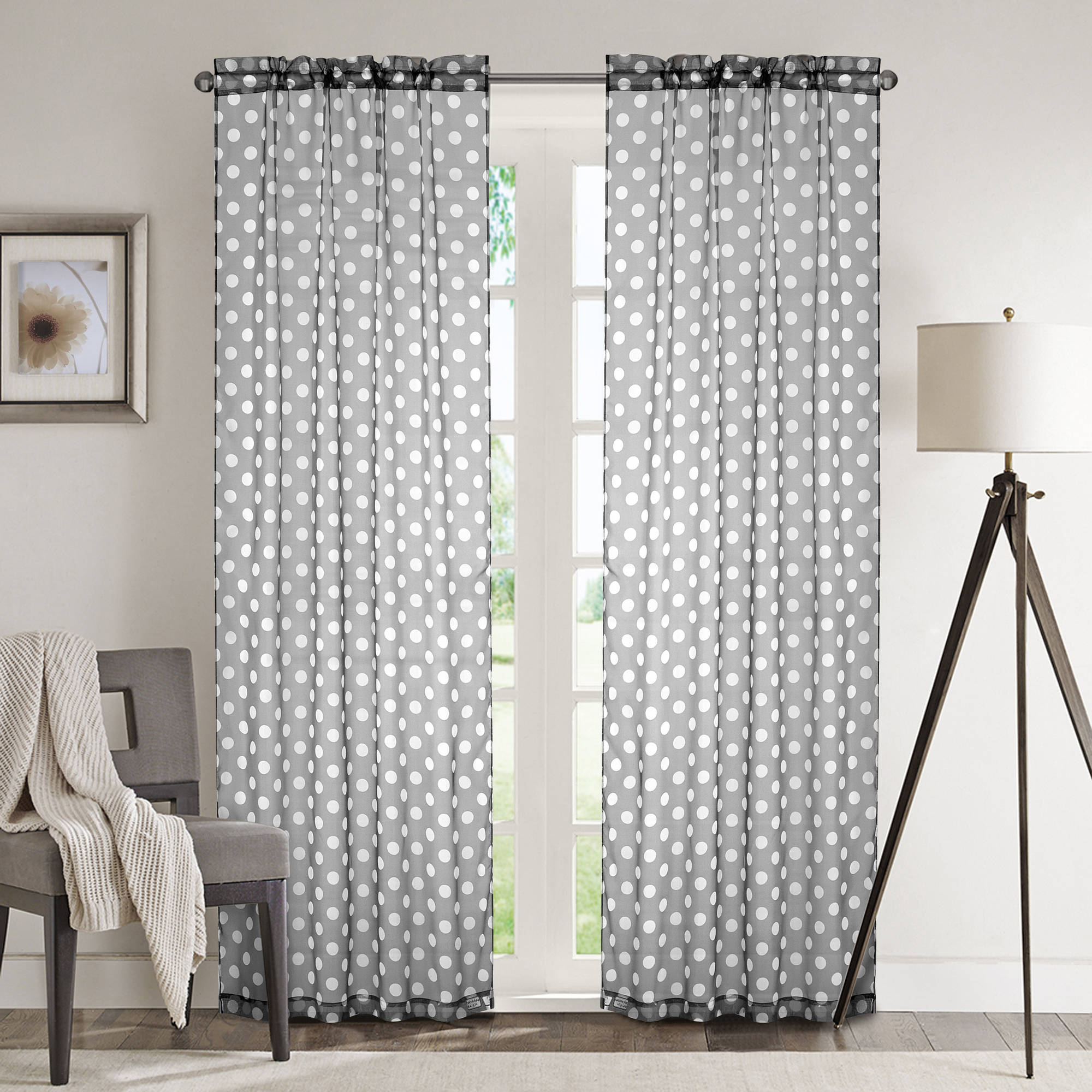 Mainstays Printed Sheer Window Panel, Set of 2