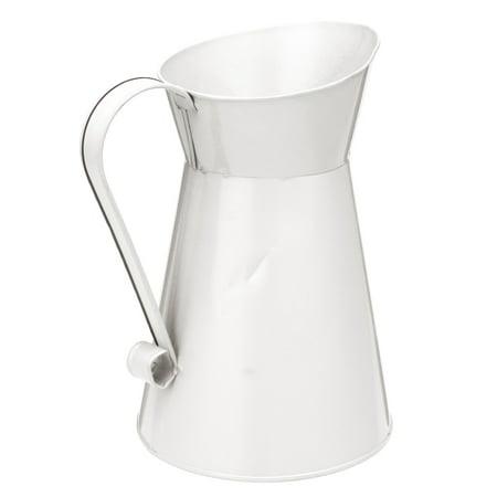 8'' Vintage Shabby Chic Cream Vase Enamel Pitcher Jug Tall Metal Wedding Decor Valentine's Day Decoration White Cream Jug