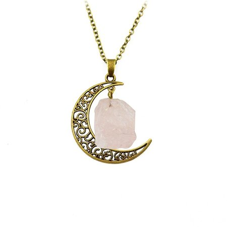 Crescent Moon Pendant Natural Clear Crystal Stone Anti-Tarnish Resistant Crescent Moon and Chain Necklace, J-440-C