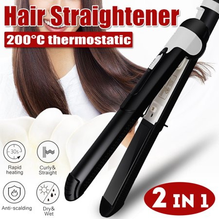 2 IN 1 Electric Hair Straightener & Curler Wand Flat Irons Quick Hair Styler Rapid Heating Instant Heat Ceramic Iron Anti-Winding Anti_scalding Wet&Dry