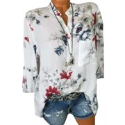 Plus Size Women Summer Casual Shirt Long Sleeve Floral Print Button Blouse Top