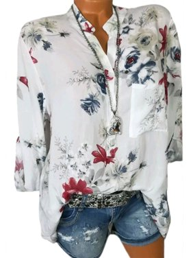 87a3a8c2b59 Product Image Plus Size Women Summer Casual Shirt Long Sleeve Floral Print  Button Blouse Top
