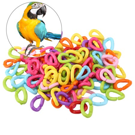 Qiilu 100pcs Plastic Bird C Clips Hooks Chain Links Diy