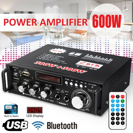 600w Amp - 600W LCD Amplifier HIFI Audio Stereo Bluetooth FM 2CH AMP Car Home USB SD MP3 Player