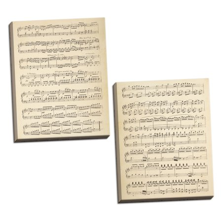 Gango Home Decor Vintage Musical Notes I & II by Wild Apple Portfolio (Ready to Hang); Two 16x24in Hand-Stretched Canvases](Musical Decor)