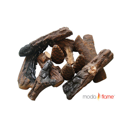 Moda Flame 9 Piece Ceramic Fireplace Wood Log Set - Walmart.com