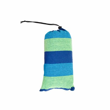 Cotton Hammock for Travel Camping Backyard, Porch, Outdoor or Indoor Use, Carrying Pouch Included Blue/Green Stripes ()