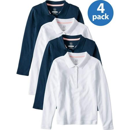 Wonder Nation Girls 4-18 School Uniform Long Sleeve Interlock Polo Shirt, 4-Pack Value Bundle