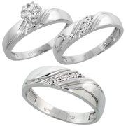 10k white gold diamond trio engagement wedding ring set for him and her 3 piece - 3 Piece Wedding Ring Sets