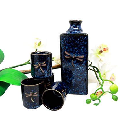 Atlantic Collectibles Japanese 14oz Ceramic Midnight Blue Dragonfly Tombo Sake Set Flask With Four Cups