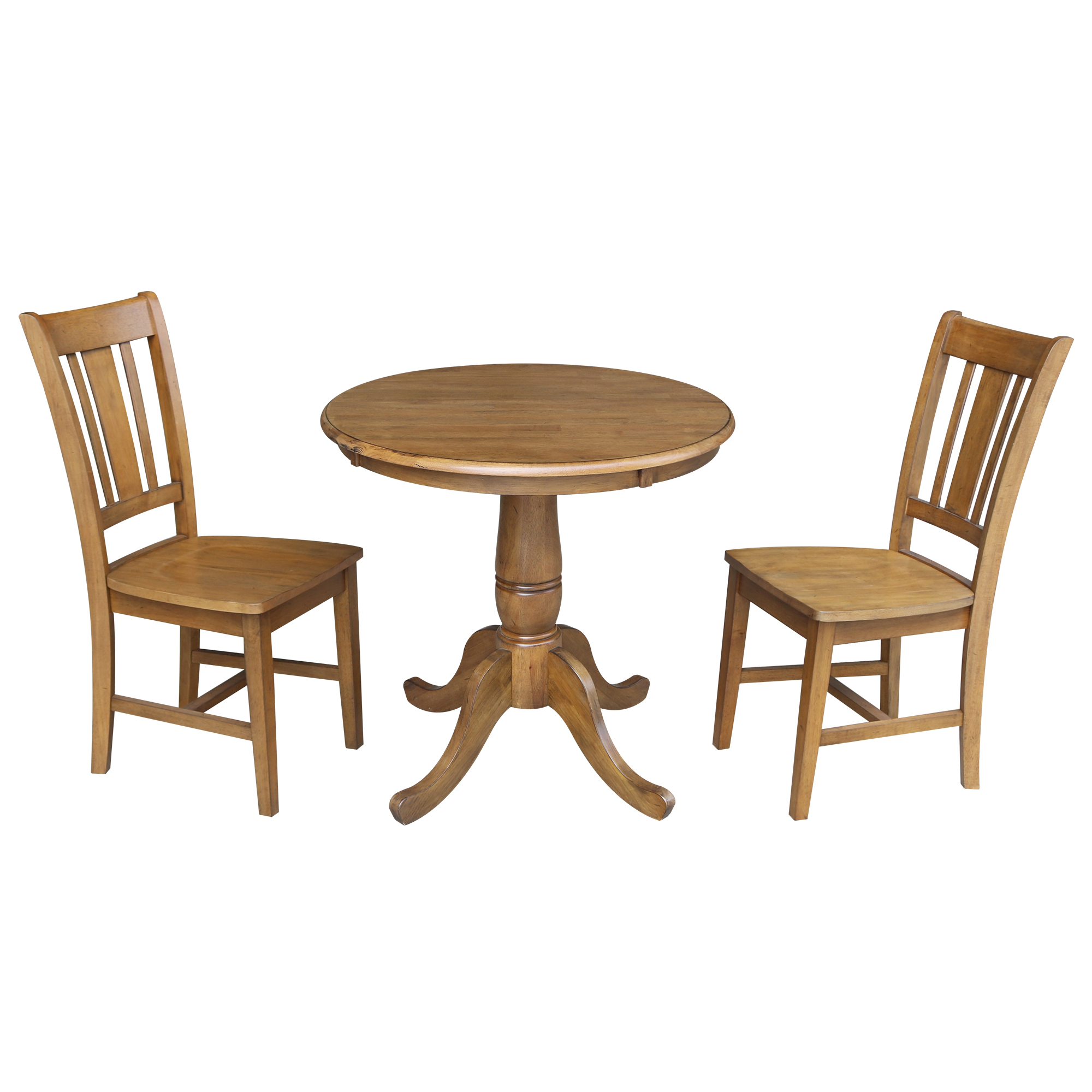 "Round 30"" Top Dining Table with 2 San Remo Chairs - Pecan- 3 Piece Set"