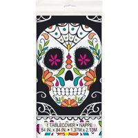 Skull Day of the Dead Plastic Party Tablecloth, 84 x 54in