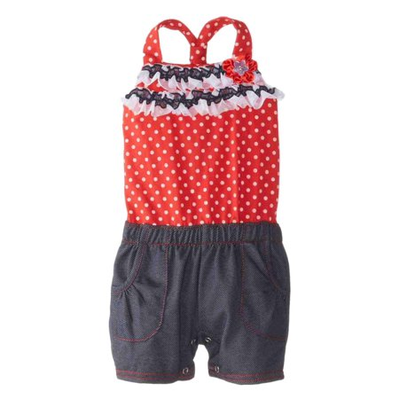 Little Lass Infant Girls Polka Dot Top & Denim Shorts Romper Creeper Jumper