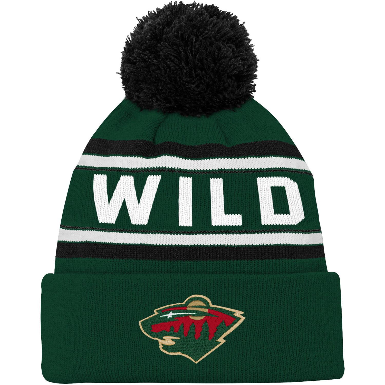 Minnesota Wild Youth Wordmark Cuffed Pom Knit Hat - Green - OSFA