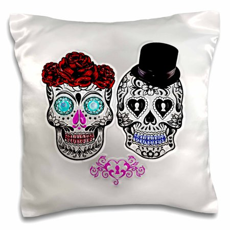 3dRose Day of the dead. Wedding., Pillow Case, 16 by 16-inch](Dead Hearts Wedding)
