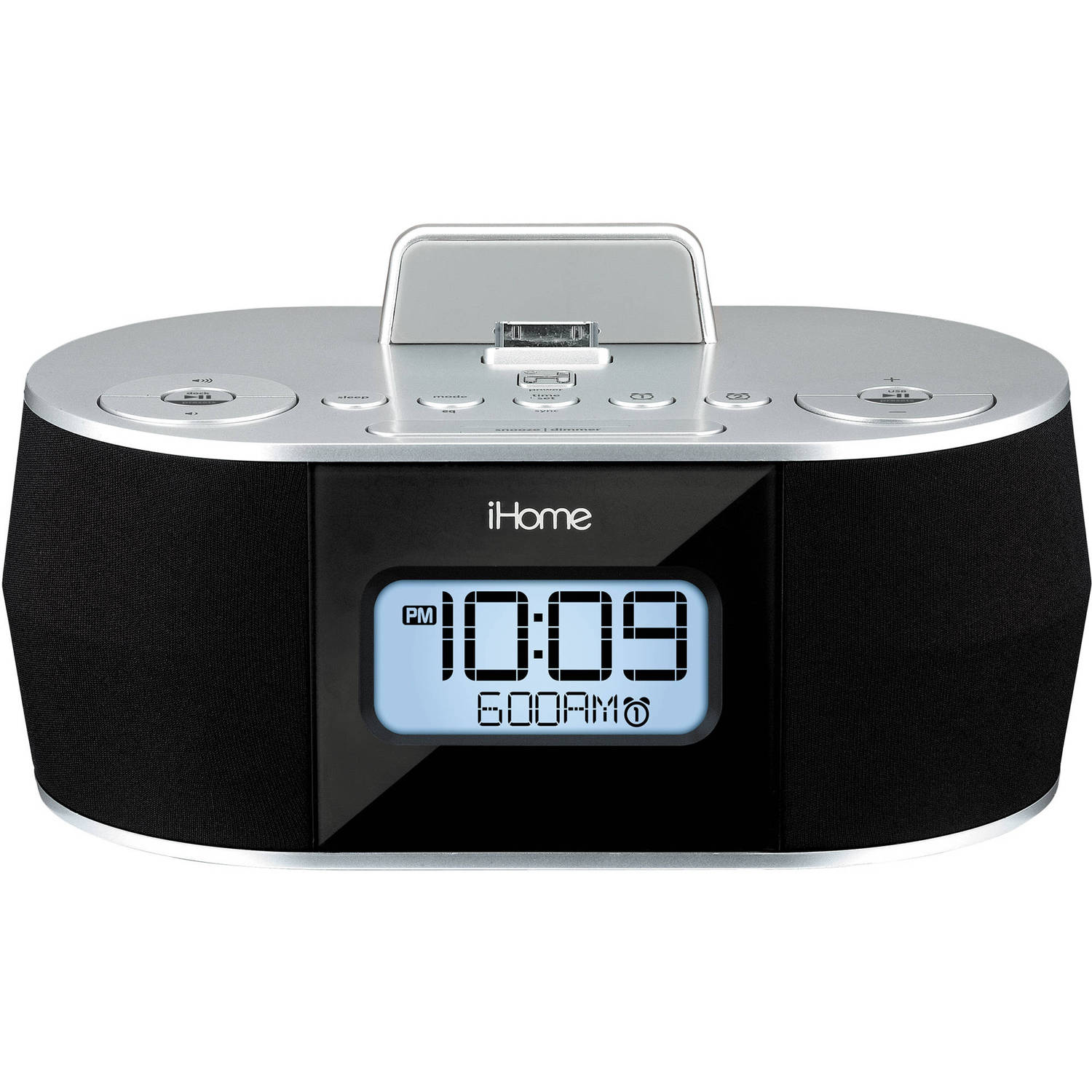 iHome iDN38 Dual Alarm FM Clock Radio for iPad/iPhone (Dock Not Compatible w/ iPhone 5/6 7 or any Lightning Models) USB Out Charging for all New iPhone Lightning Models (Certified Refurbished)
