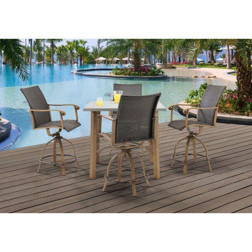 Hanover Hermosa Wicker 5 Piece Bar Height Square Patio Dining Set