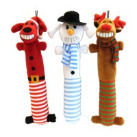 Holiday Time Festive Friends Loofa Dog Toys, 3-Pack