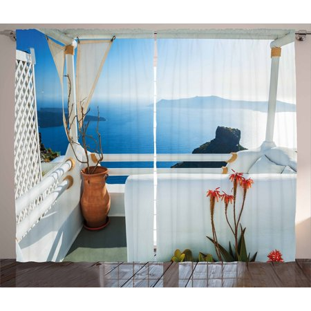 European Curtains 2 Panels Set, Holiday Terrace with Sea at Sunset Architecture on Santorini Island Greece, Window Drapes for Living Room Bedroom, 108W X 108L Inches, Turquoise and Blue, by
