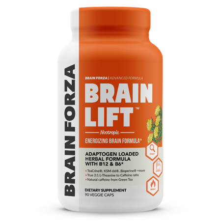 Brain Forza Brain Lift Herbal Nootropic for Focus, Memory and Energy w/ KSM-66 Ashwagandha, TeaCrine, Rhodiola Rosea, AlphaWave L-Theanine, 90