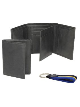 98fd350b1f84 Product Image George Trifold Leather Wallet with Black and Grey Antique  Finish and Key Fob
