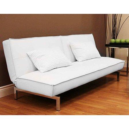 Dhp Belle White Faux Leather Convertible Sofa Walmart Com