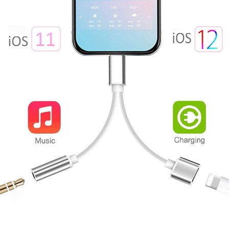Lightning to 3.5 mm headphone jack adapter for iPhone 7 headphones Charging Cable for iPhone 8/7/7Plus/X/XR/Xs Earphone AUX Lightning Headphone Adapter Splitter Audio & Charge Connector Support iOS 12 ()