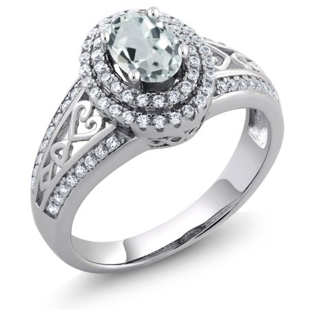 - 1.29 Ct Oval Sky Blue Aquamarine 925 Sterling Silver Ring